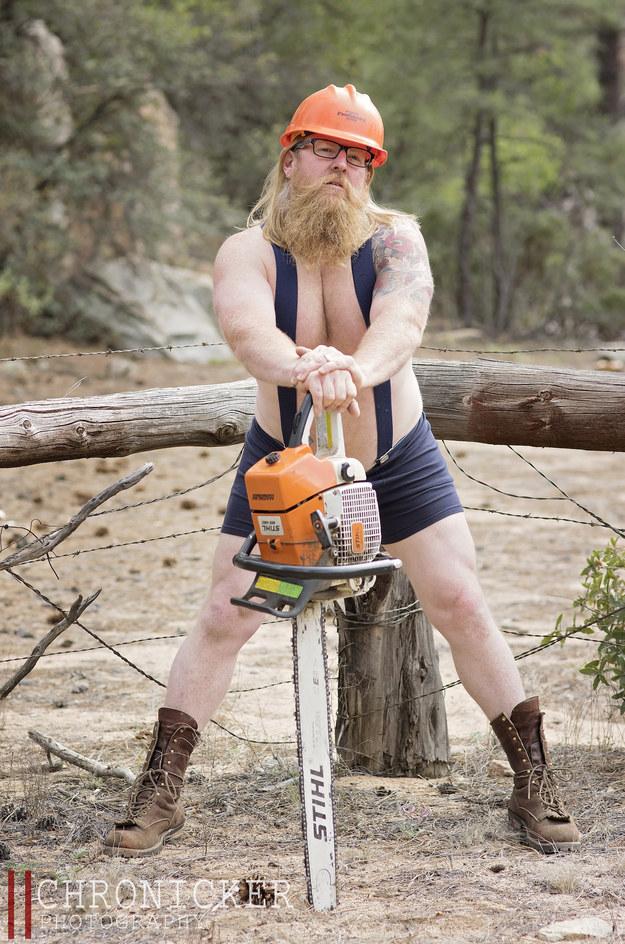 "This Guy Did A Lumbersexual ""Dudeoir"" Calendar Shoot For A Good Cause"