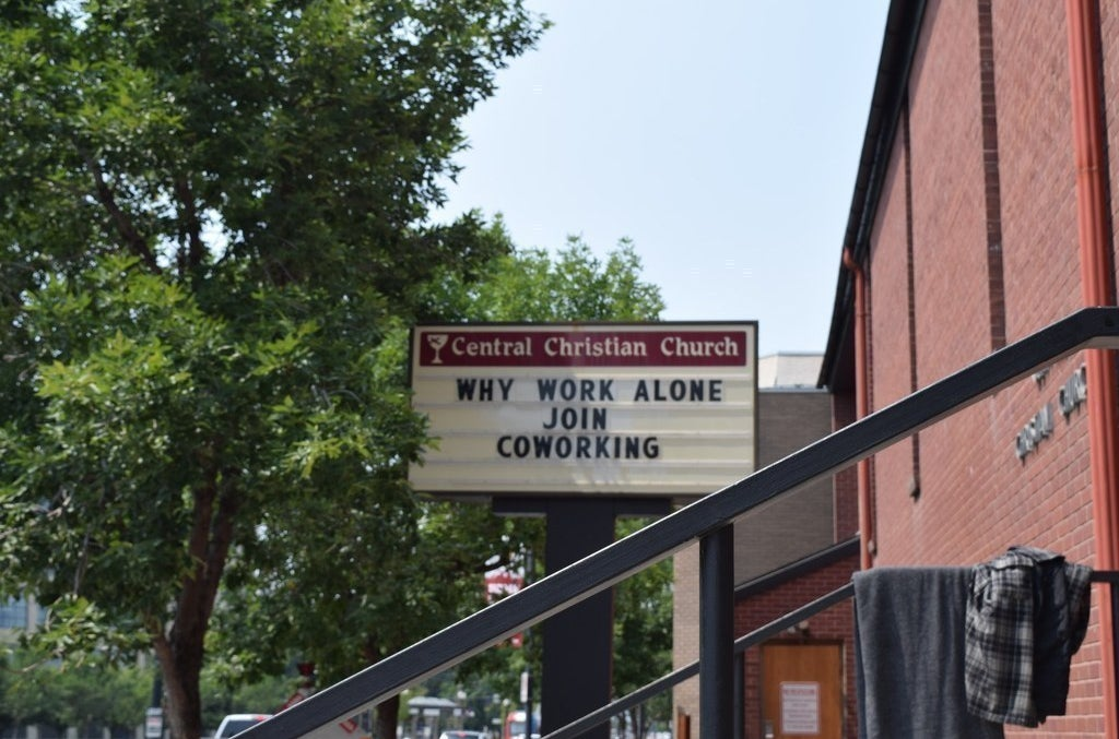 A sign outside the Church & State startup incubator and coworking space.
