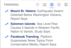 Facebook's Trending Topics column on Monday, after the Gizmodo story was published.