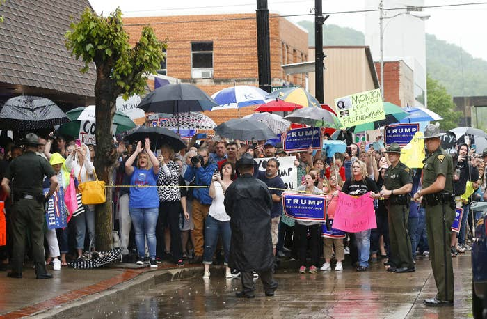 Protesters outside Clinton's event in Williamson, W.Va. last week.