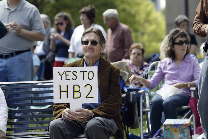 Supporters of House Bill 2 at a rally at the North Carolina State Capitol in Raleigh, N.C.