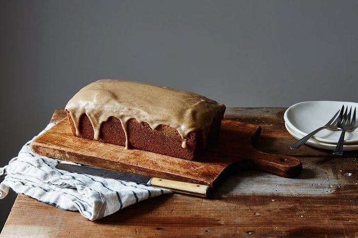 Covering a pound cake with brown butter frosting: SMART. Get the recipe.