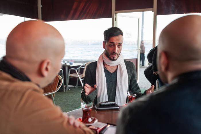 Hussein Sabat, the winner of Mr. Gay Syria 2016, is interviewed prior to the contest by judges Mahmoud Hassino (left) and Ayman Menem central Istanbul.