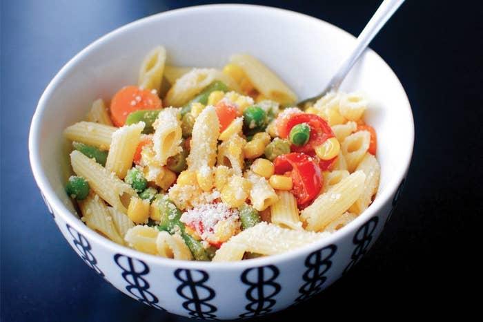 This easy pasta primavera dish is the perfect way to perk up frozen veggies. Recipe here.