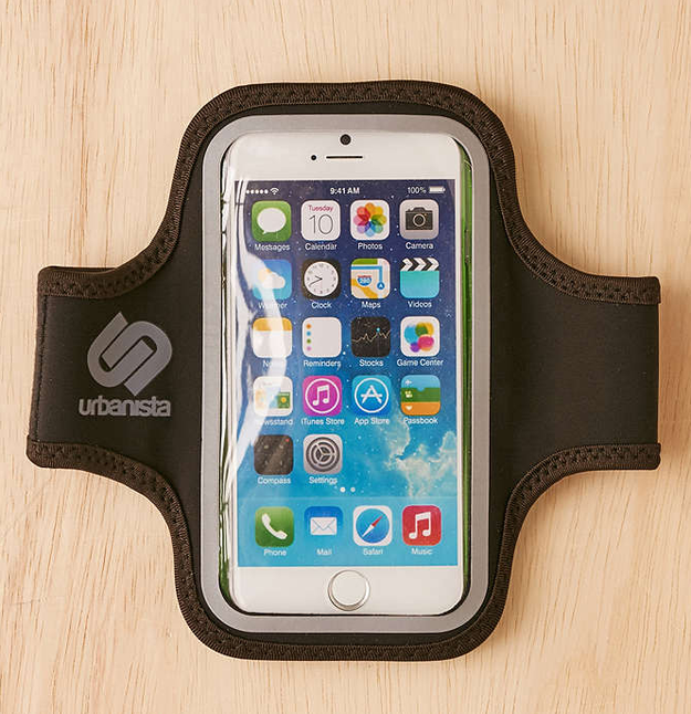 This easily adjustable armband for listening to music on your smartphone while you're working out or on-the-go.