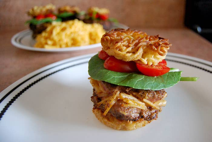 What to do when you have frozen beef and leftover mac and cheese? Combine them with that ramen package in the back of your pantry and make these mini burgers. Recipe here.