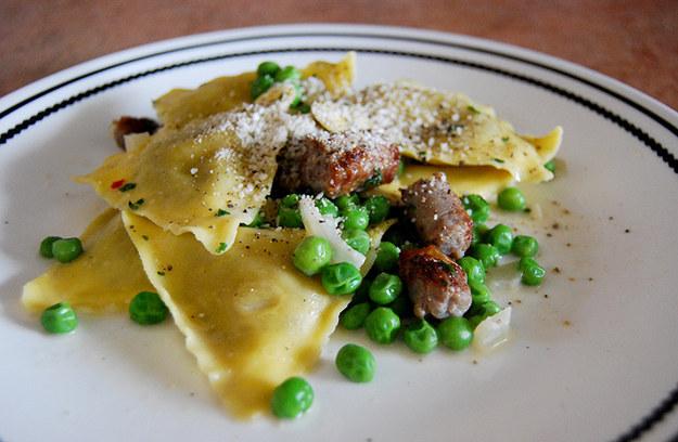 Carbonara-Inspired Ravioli and Sausage