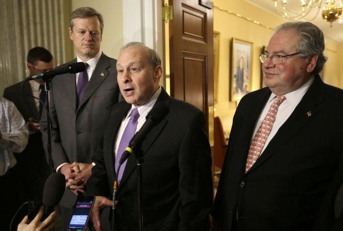Gov. Charlie Baker, top left, and Senate President Stanley Rosenberg, center, with House Speaker Robert DeLeo.
