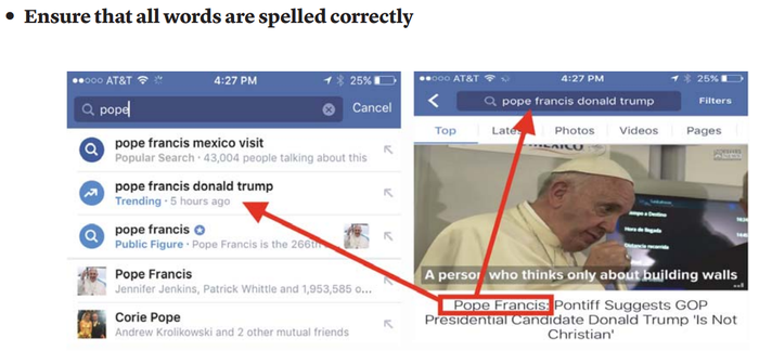 A screenshot of Facebook's editorial guidelines for trending topics.