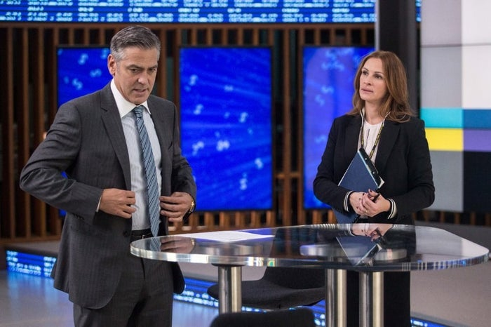 George Clooney and Julia Roberts in Money Monster.