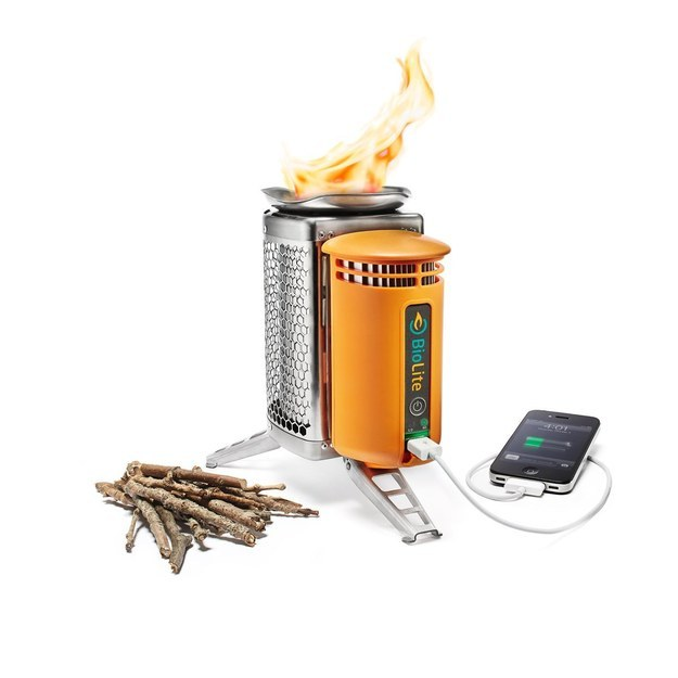 A camp stove that charges electronic devices.