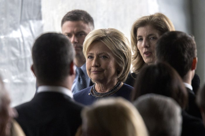 """Clinton at the California funeral service for Nancy Reagan, where she praised the former first lady for her """"very effective, low-key advocacy"""" on HIV/AIDS."""