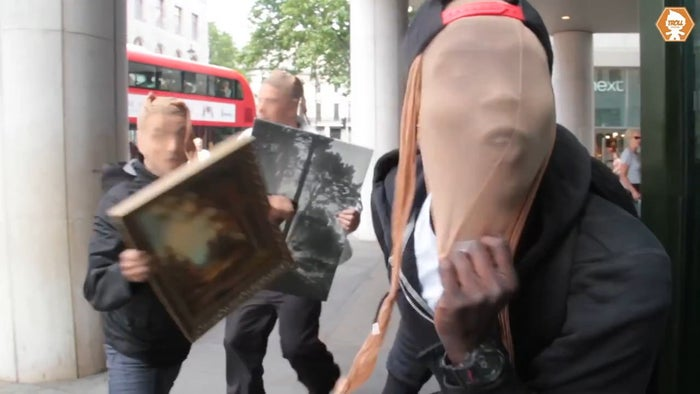 Members of Trollstation outside the National Portrait Gallery, during a stunt in July 2015