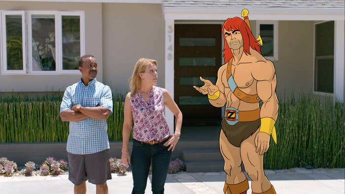 Tim Meadows, Cheryl Hines, and Zorn (voiced by Jason Sudeikis) on Son of Zorn.