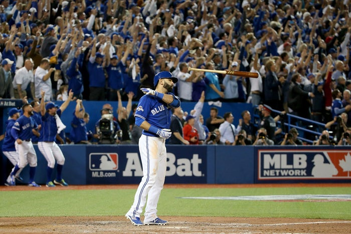Jose Bautista after hitting a home run in ALDS Game 5.