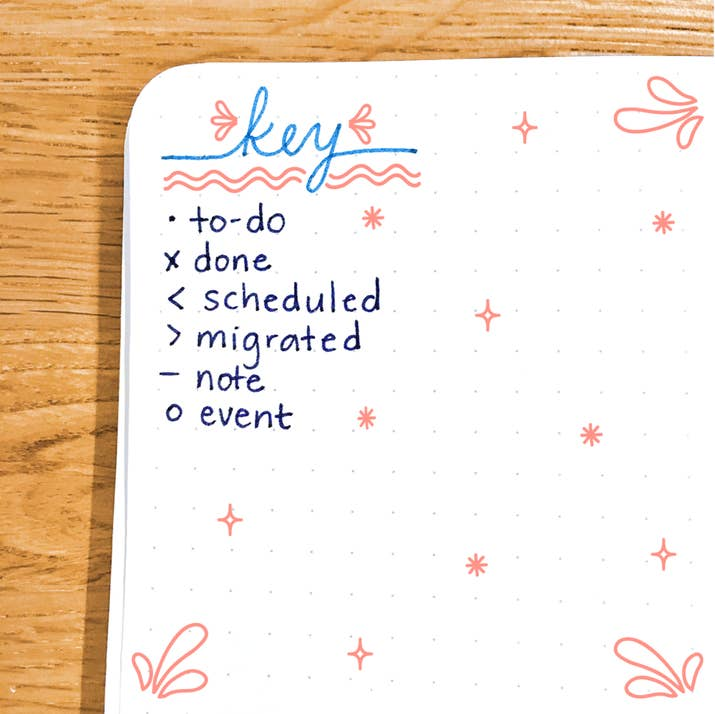 simboli bullet journal, key bullet