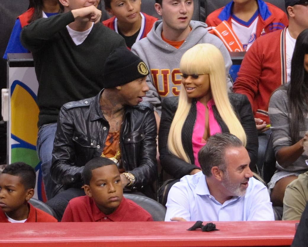 Tyga and Blac Chyna attend a basketball game between the Miami Heat and the  Los Angeles
