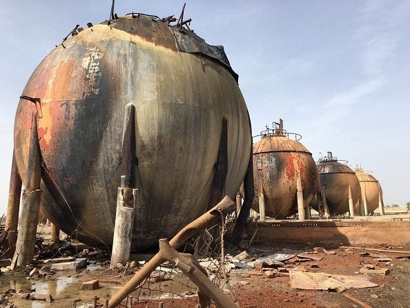 Wrecked gas tanks seen after a car bomb attack at the government-owned LPG manufacturing plant north of Baghdad on Sunday.