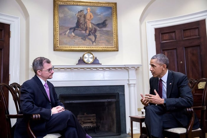 President Barack Obama and BuzzFeed News' Chris Geidner (left) in the White House.