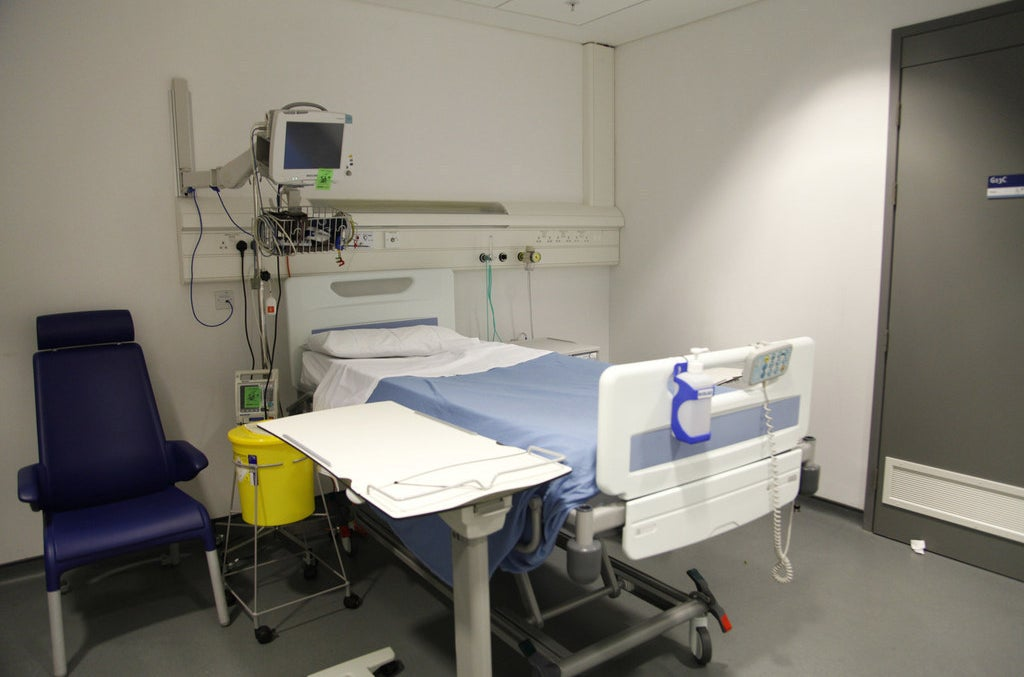 The hospital room before it was transformed.