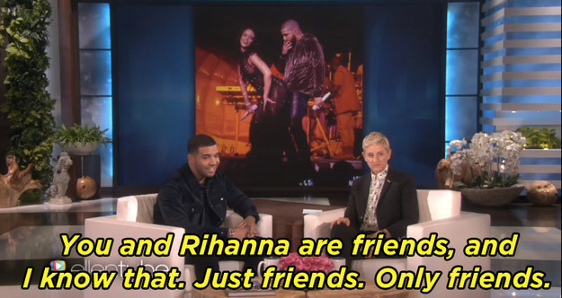 "And Ellen also took the opportunity to make fun of the fact that he's ""just friends"" with Rihanna."