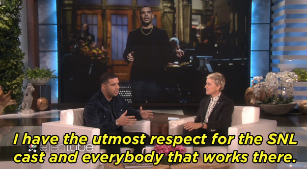 Drake spoke about his Saturday Night Live experience.