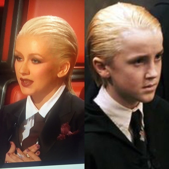 Christina is currently one of the coaches on The Voice, and reddit user Bwhitit noticed that, well, she might actually also be the former Hogwarts student with locks of gold white.