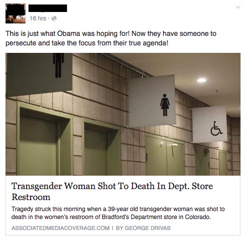 The North Carolina bathroom bill, HB2, is an appealing topic for fake news sites because it splits people along ideological lines. Research shows we are more likely to believe (and share) information that aligns with our existing beliefs and worldview.