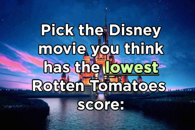 Which Of These Disney Movies Has The Lowest Rotten Tomatoes Score