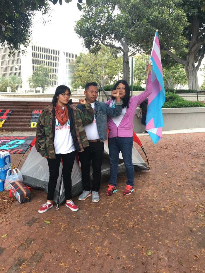 Deyaneira García, Jorge Gutierrez, and Jennicet Gutiérrez outside their tent in Santa Ana where they've been sleeping during their hunger strike.