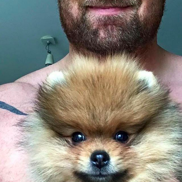 ...ele vai para casa para relaxar com um cãozinho minusculamente adorável.