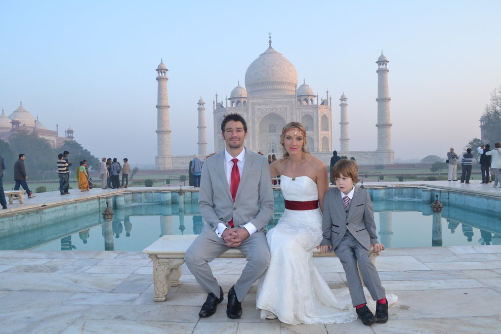 They got married in India, Russia, China, Nepal, Mauritius, Paris, England and South Africa. The only person who attended all their weddings was their 5-year-old son.