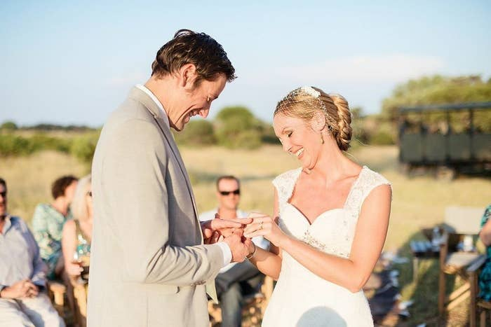 They originally planned a huge wedding in South Africa, but after Brett's brother announced he was getting married that same year, they decided to travel to different places and have eight separate weddings instead.