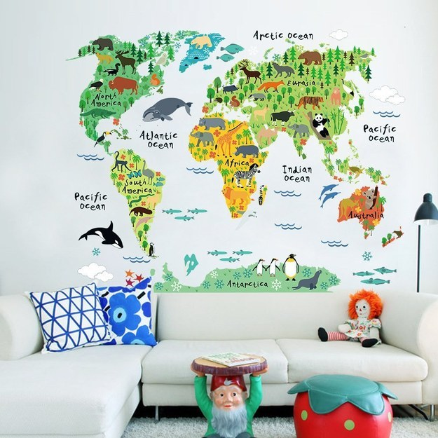 A map mural that may help kids learn about the continents.