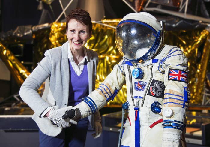 Helen Sharman and the spacesuit she wore during her 1991 mission.