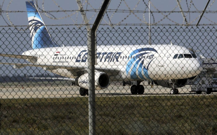 An Egyptair Airbus A320 airbus stands on the runway at Larnaca Airport in Larnaca, Cyprus , March 29, 2016. REUTERS/Yiannis Kourtoglou /File Photo