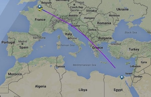 The plane's route until it disappeared.