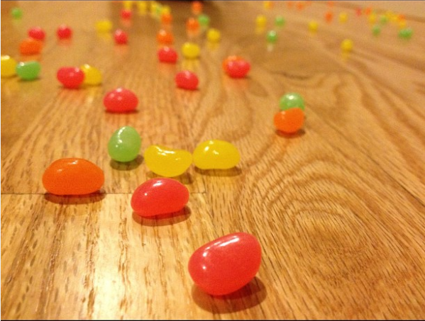 What it means: Your kid just accidentally turned over a bag of jelly beans.