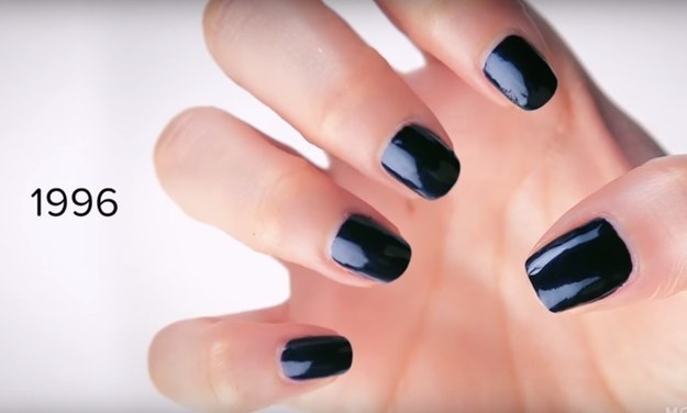 When grunge style swept through the '90s, nails got short and dark.