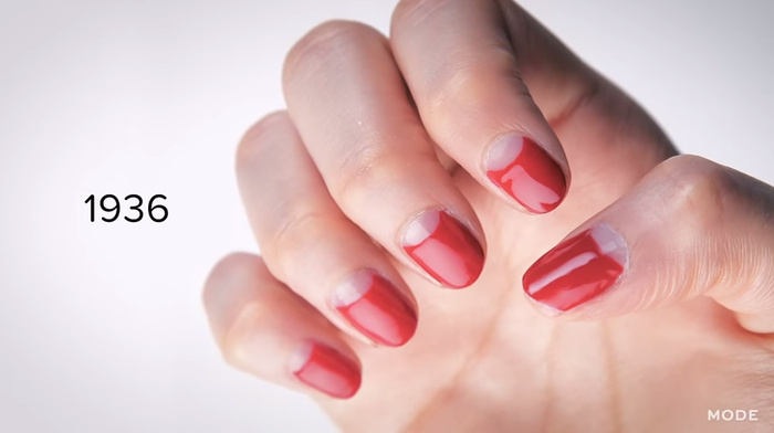 """This """"half-moon"""" manicure was very popular in the '30s."""