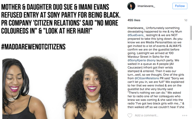 After she was turned away from the club, Imani posted about the incident on Instagram.