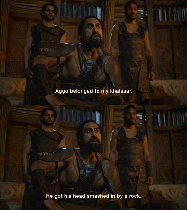 Later, we learn that his name was Aggo, and he was part of Khal Moro's khalasar.