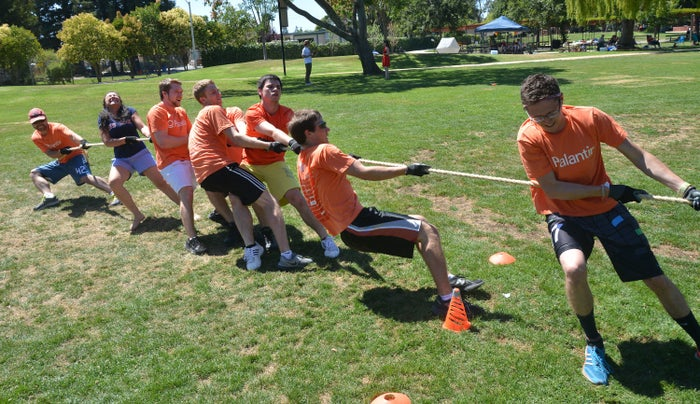Team Palantir participates in the Tug-a-Rope competition during the Founder Institute's Silicon Valley Sports League event on July 13, 2013