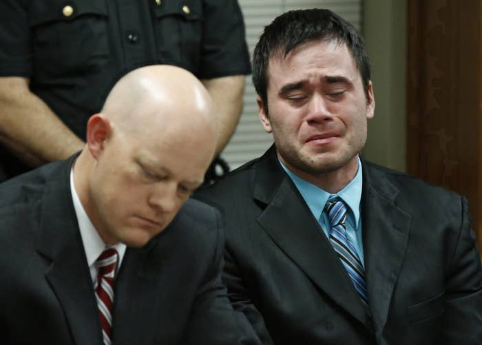 Daniel Holtzclaw cries as the verdicts are read in his trial in Oklahoma City on Dec. 10, 2015.