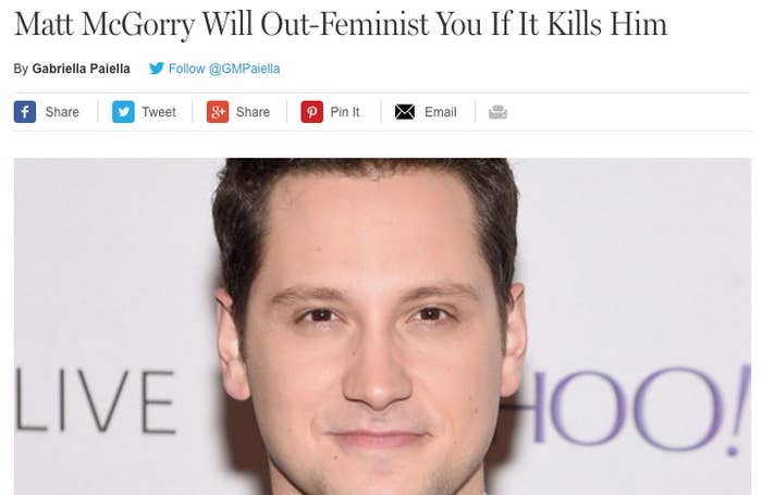 "And is Matt McGorry important because he's saying feminist stuff or is it just that he's a celebrity who's taking advantage of a social movement to try to ""earn a cookie""?Caring about equality = good.Being cloying about it and expecting praise for it = bad.It's a fine line! But in the last few months, something about the way McGorry has acted on social media has made some people feel like he's crossed the line from ""good"" to ""really annoying"". We wanted to figure out exactly why and how that change in public opinion happened, and what it means."