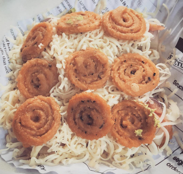 Cheese murukku sandwich at Brunch in R.K. Saalai.