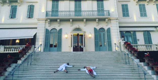 They're in Cannes for the film festival, and apparently fell down some stairs. Or just decided to pose that way. Whatever.