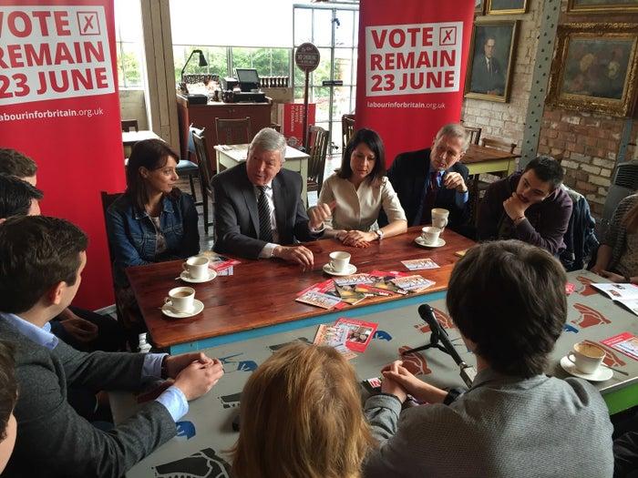 Gloria De Piero, Alan Johnson, and Liz Kendall speak to students in Leicester.