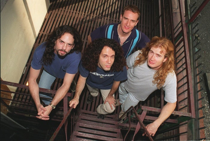 Megadeth in 1997. From left: Nick Menza, Marty Friedman, David Ellefson, and Dave Mustaine.
