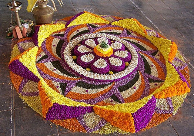 Onam is one of the popular festivals of Kerala is celebrated with joy and enthusiasm by people of all communities. According to a popular legend, the festival is celebrated to welcome King Mahabali, whose spirit is said to visit Kerala at the time of Onam. Intricately designed flower mats called, Pookalams are made in the front courtyard of the house to welcome King Mahabali.Onam is celebrated in Chingam, (August-September) and lasts for ten days. The tenth day, Thiruonam is marked by elaborate feasts, folk songs, elegant dances, energetic games, elephants, boats and flowers. Vallamkali, the enchanting Snake Boat Race, Folk performances like Kummatti kali and Pulikali add to the zest of celebrations.